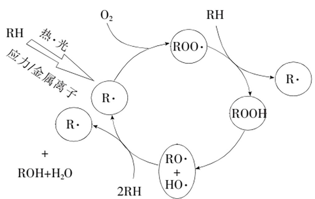 聚合物老化时的自由基链反应